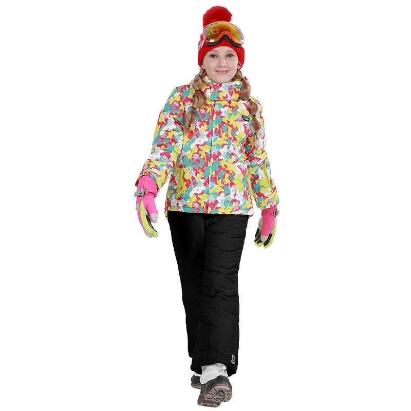 Лыжный костюм Phibee, одежда для маленьких девочек, теплые непромокаемые ветрозащитные комплекты для сноуборда, зимняя куртка, детская одежда, одежда для детей