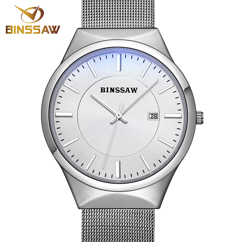 Prix pour BINSSAW de luxe de Marque Hommes montres robe quartz montre hommes en acier maille bracelet à quartz-montre Ultra-mince ultra horloge relogio masculino