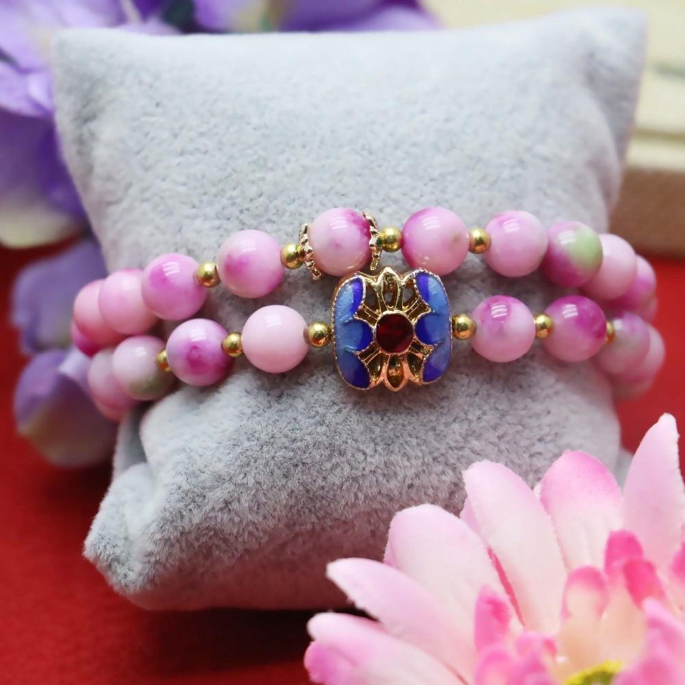 660d83093700 8mm prevalente Rosa Calcedonia piedra melocotón pulsera cadena de la mano  para las mujeres niñas colgante natural ocio cloisonne Accesorios