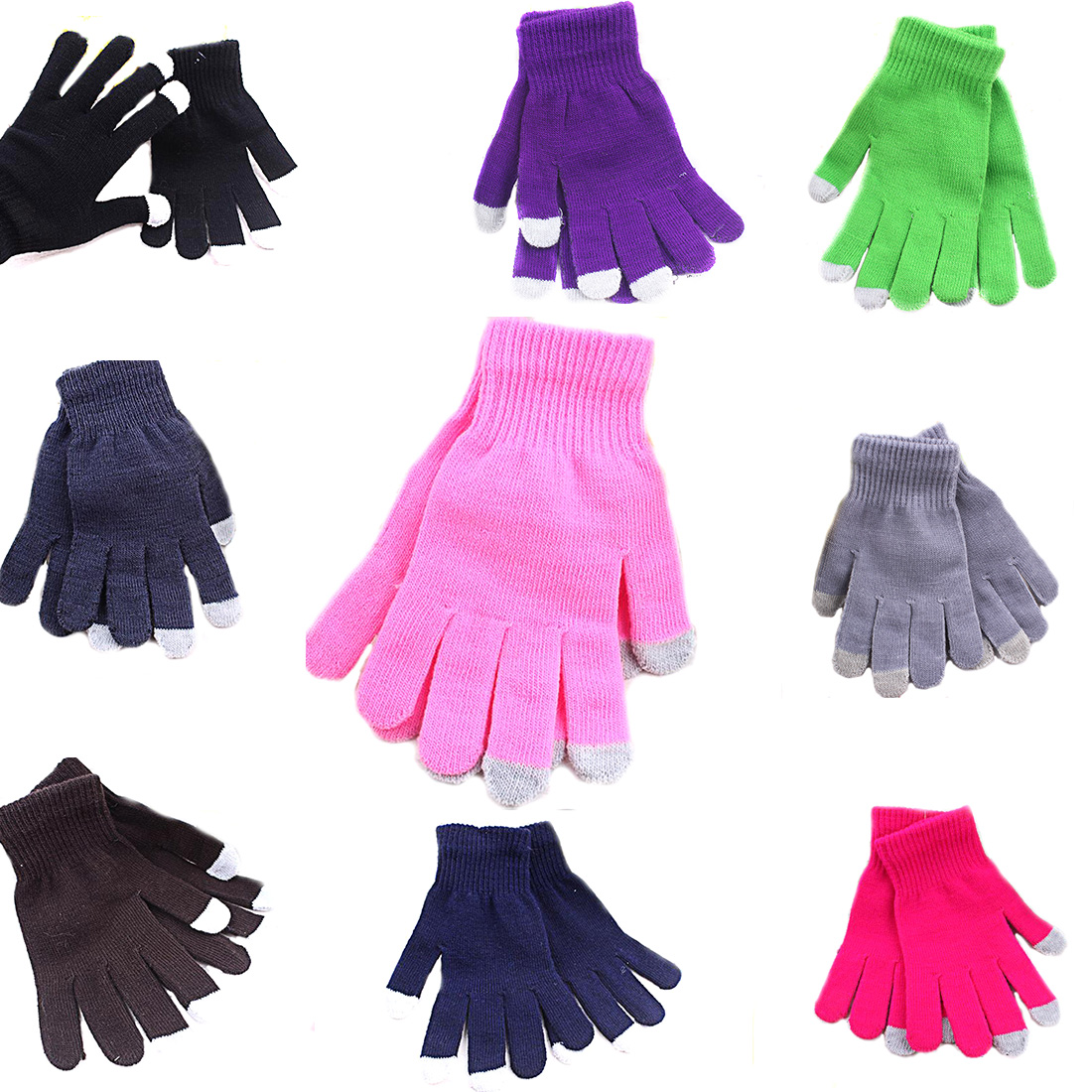 1 Para Frauen/Männer Bequeme Touchscreen Handschuhe Mode Handgelenk Casual Handschuhe Tablet Warm Stricken Winter Handschuh Für Smart telefon image