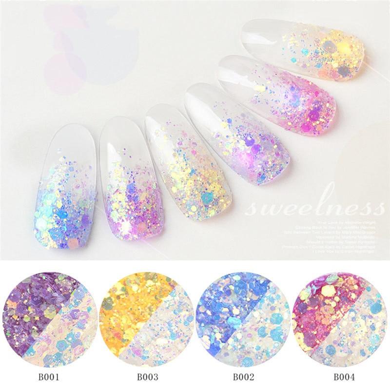 Лак для ногтей порошок наклейка блесток градиент 6 шт оптическое зеркало-Хамелеон DIY пыль дизайн ногтей Блеск хром пигмент P# B45 Прямая поставка - Цвет: Белый