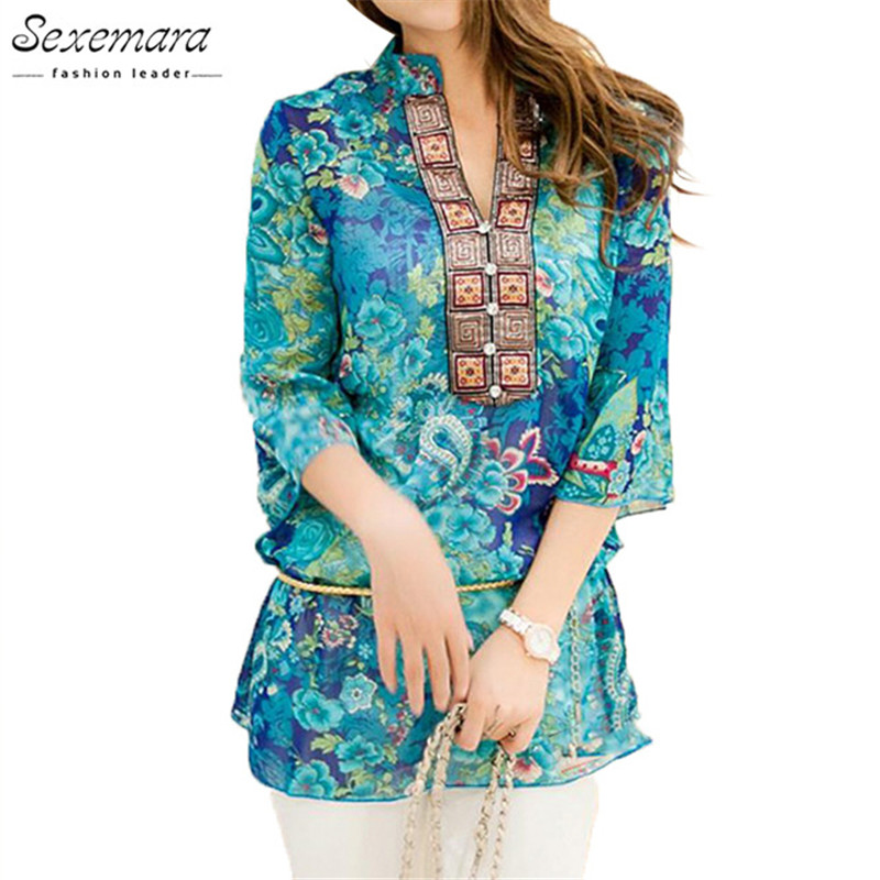 2018 Summer Women Shirt Bluse Style Fashion Chiffon Half Sleeve Plus Størrelse 5XL Floral Casual Top Broderi Kvinder Tunika Bluser