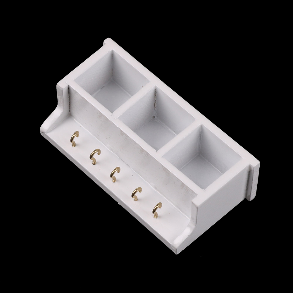 New Arrivals 1 12 Dollhouse Miniature Kitchen Wood Wall Rack White 1 12 Doll House Decoration