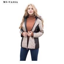 MS Vassa Новый Мужские парки Осенне-зимняя Дамская обувь куртка с отстегивающимся капюшоном фиксированной искусственного меха воротник большие размеры женская верхняя одежда 5XL