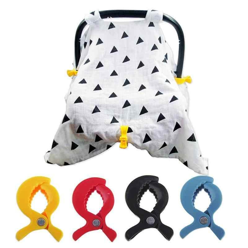 Plastik Bayi Dorong Klip Mobil Bayi Stroller Aksesoris Tas Kereta Hook Clamp Mainan Kereta Dorong Bayi Kereta Dorong Peg Hook Cover Selimut klip