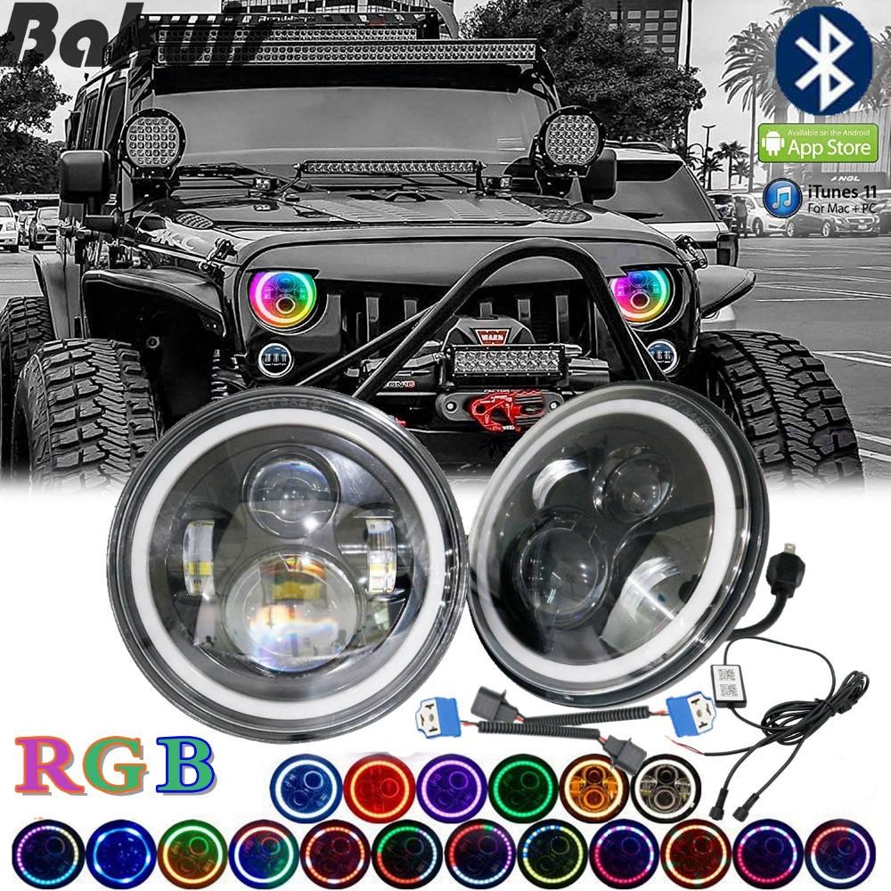 For Lada 4x4 Niva 7Round Bluetooth RGB H4 Hi/low Beam Headlights Halo Ring DRL For Jeep Puch Kenworth Nissan Suzuki Samurai