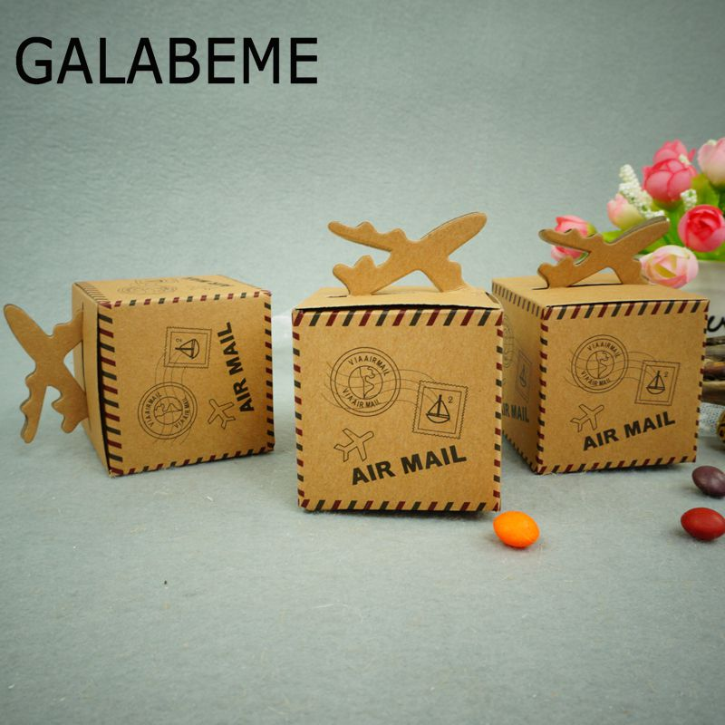 Galabeme 50PC 6cm Air Mail Plane Kraft Candy Box Paper Bag Vintage Rustic Wedding Favour Box for Wedding Party Decoration Favors