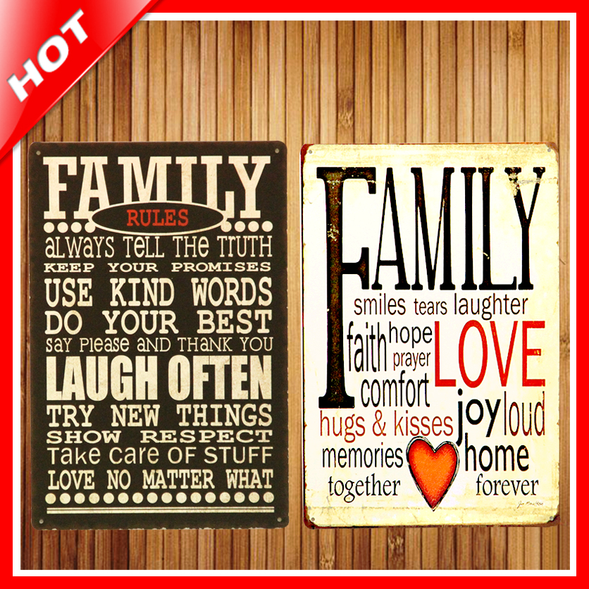 new family rules set chic home bar vintage metal signs home decor vintage tin signs pub vintage decorative plates metal wall art in plaques signs from