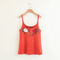 Vintage Floral Embroidery Camisole Tank Suede Cropped Tank Top Camis Women Tops Slim Cami Party Crop