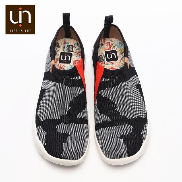 UIN Toledo Zapatillas para hombre informales cómodas y sin cordones, mocasines tejidos, diseño en U