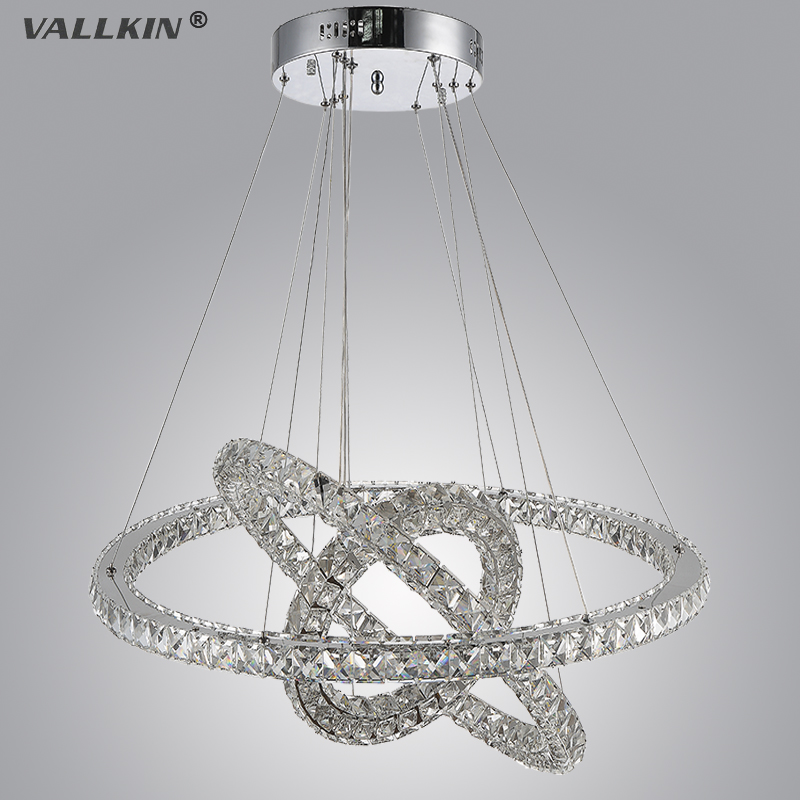 VALLKIN Modern LED Crystal Chandelier Lights Lamp Cristal Lustre Chandeliers Lighting Pendant Hanging Ceiling Fixtures modern k9 crystal led ceiling pendant lamp 2 head cool white chandelier lights size 45 21 9cm