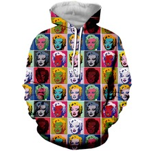 YX Girl Drop Shipping Womens 3d Marilyn Monroe Pop Art Collage Hoodies Hooded Sweatshirt Women Cute Hoodie Pullover Plus size