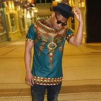 Afrika Tribal T Gömlek Erkekler Dashiki Baskı Özlü Hiphop Üst Tarzı Afrika Avrupa Halk Tarzı Baskı T-shirt Tee Gömlek Erkekler