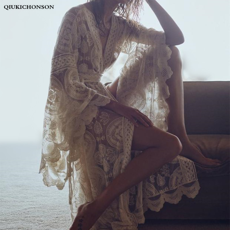 Hollow Out Embroidery White Lace Cardigan Female Sexy Bohemian Beach Kimono Tops Summer Long Flare Sleeve Lace Shirts Long Tunic