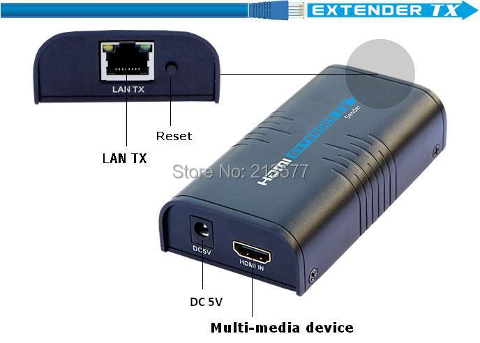 Only  transmitter(Tx)!! 1080P HDMI Network Extender 100-120M, Over LAN RJ45 CAT5E CAT6,HDCP compatible,Free shipping hdmi extender rj45