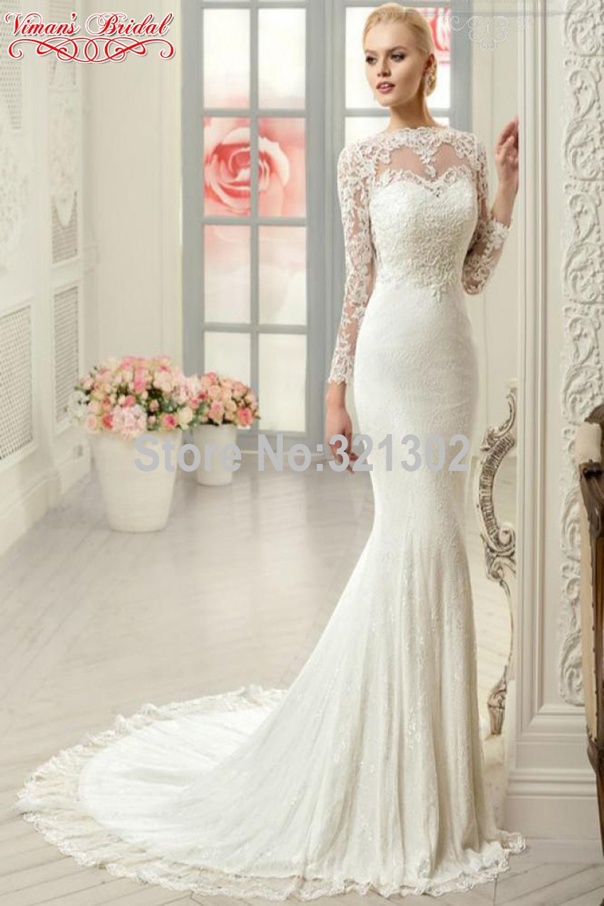 Style Elegant Wedding Gowns Boat Neck Full Sleeve Button Brush Train ...