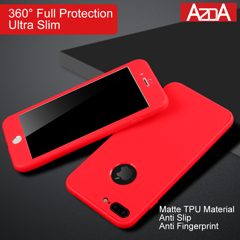 360 Degree Full Cover Silicon for iPhone 6 6s Case XS Max XR X Red Sof