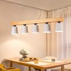 Nordycki kreatywny stół lampa trzy pięć E27 badania bar balkon żyrandol drewniany drewno jadalnia żyrandol do restauracji światła w Wiszące lampki od Lampy i oświetlenie na
