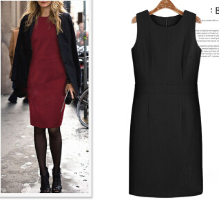 Women office dress Christmas And New Dress Sleeveless And Elegant O-Neck Tweed Dress Black And Red
