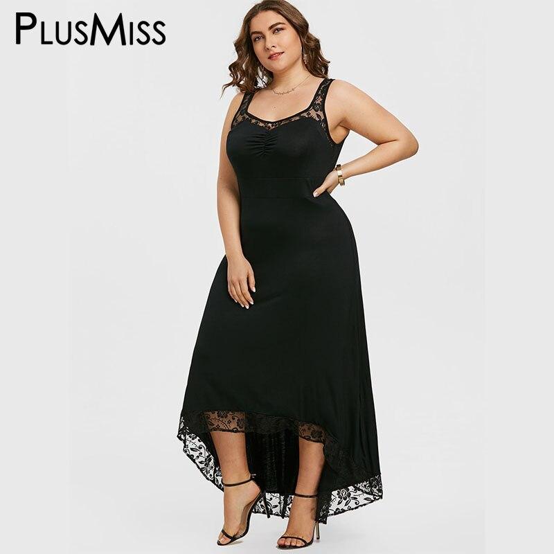 PlusMiss Plus Taille 5XL Sexy Haut Bas Maxi Parti Longue Robe Femmes Vêtements Robe Femme Sans Manches En Dentelle Moulante Robe Grand taille