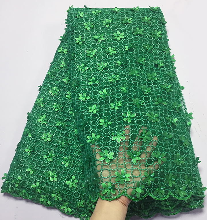 5 yards Green high grade french lace big tulle lace fabric African garment cloth with lots