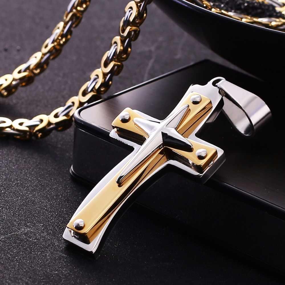 Christian jezus krzyż krucyfiks wisiorek naszyjniki ze stali nierdzewnej o grubości bizantyjski łańcucha Link dla kobiet mężczyzn biżuteria punkowa prezent