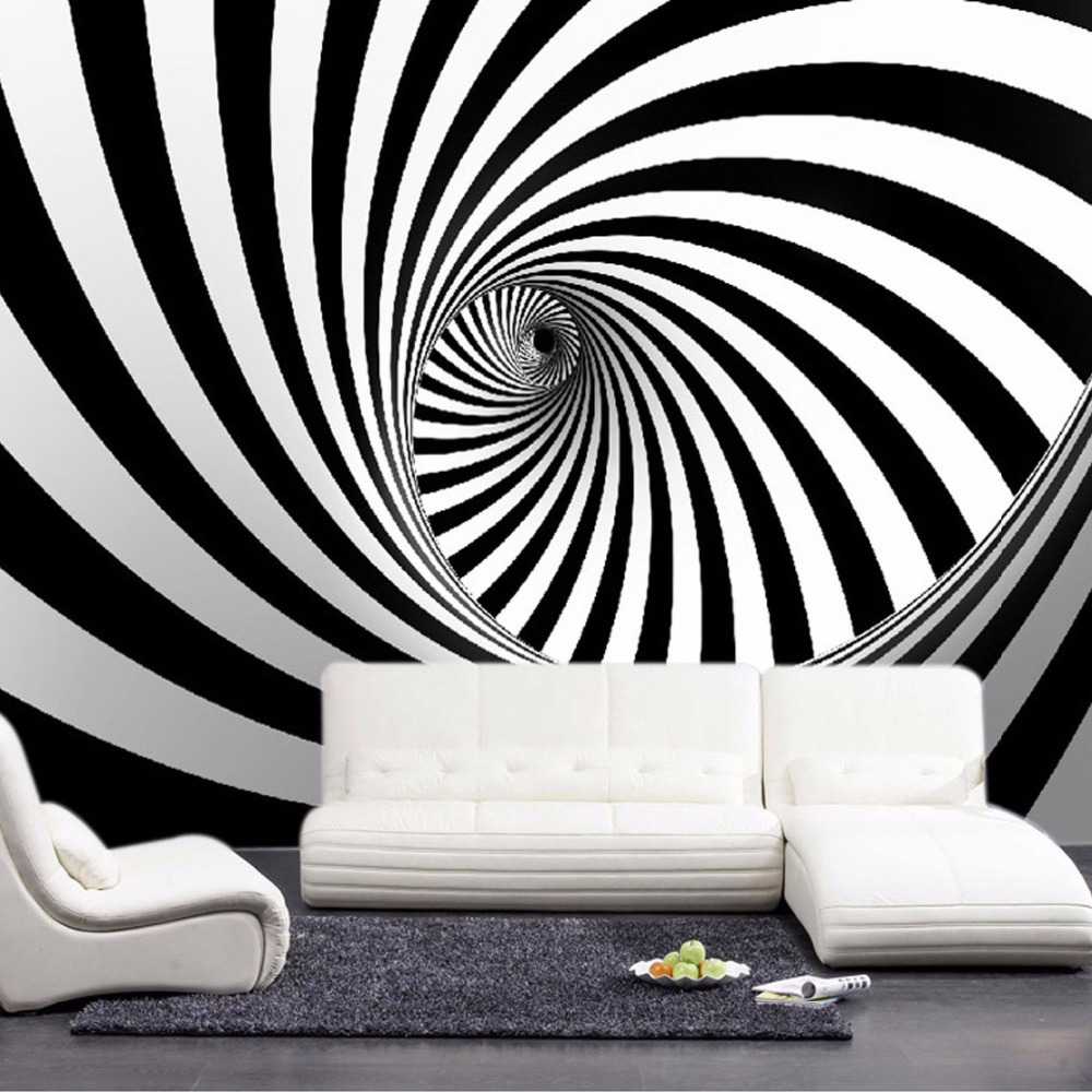 Custom modern abstract artistic wall mural wallpaper black for Black and white wallpaper for walls