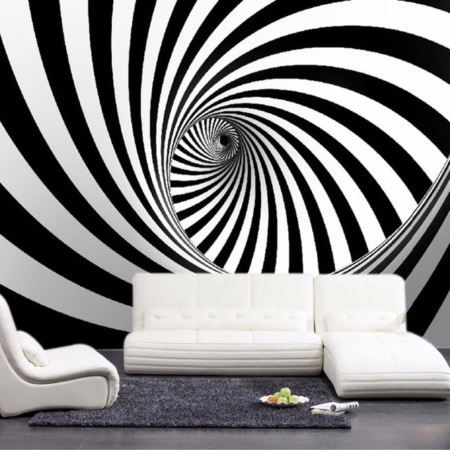 Custom Modern Abstract Artistic Wall Mural Wallpaper Black And White Swirl  Line Living Room Straw Non