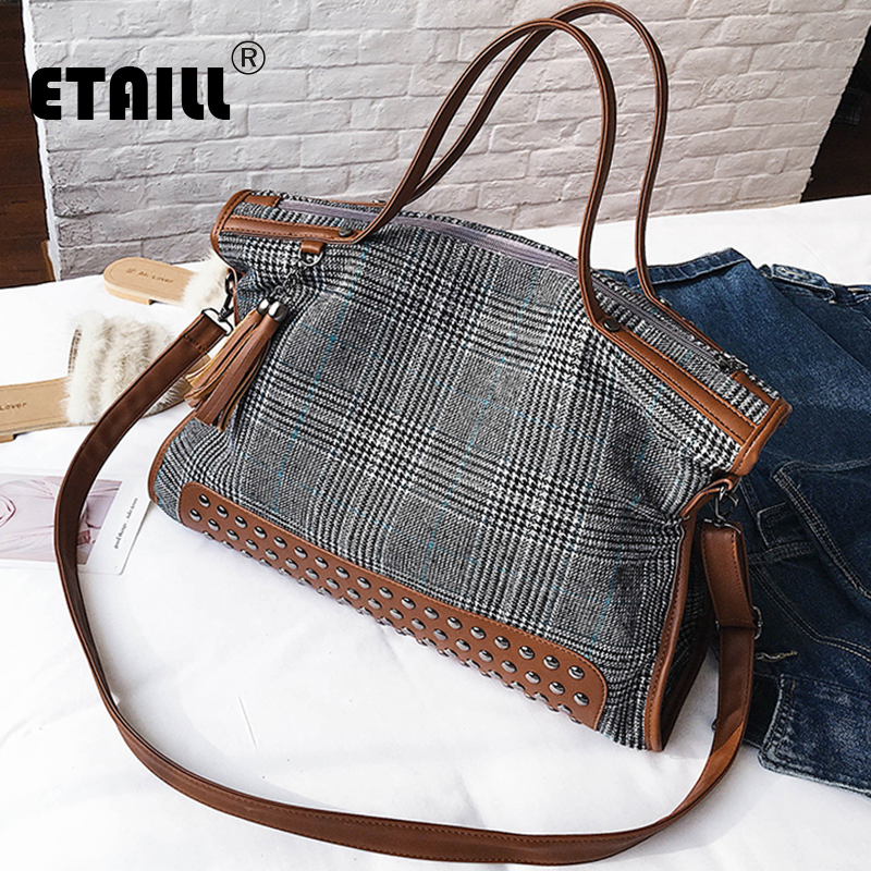 ETAILL High Quality Canvas Plaid+PU Leather Women Bag Large Capacity Top-handle Tote Bags Tassel Shoulder Bags Plaid Handbag цена