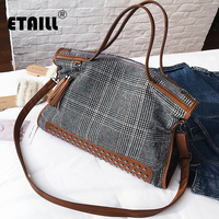ETAILL High Quality Canvas Plaid+PU Leather Women Bag Large Capacity Top handle Tote Bags Tassel Shoulder Bags Plaid Handbag