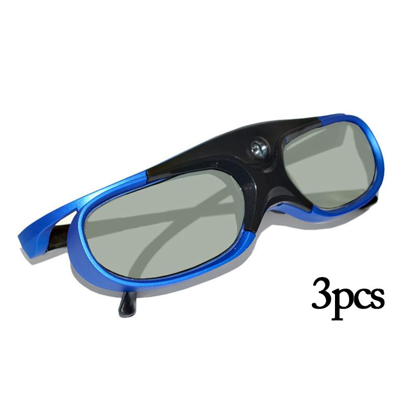 3PCS Active Shutter 3D Glasses DLP Link Projector Specific 144HZ Rechargeable LCD 3D Glasses for BenQ Epson Hitachi Projector 3d active shutter glasses for dlp link projector