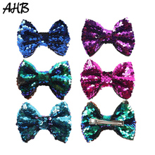 AHB 4 Sequin Hair Bows Clips for Baby Girls Handmade Reversible Bowknot Hairpins Party Hairgrips Headwear