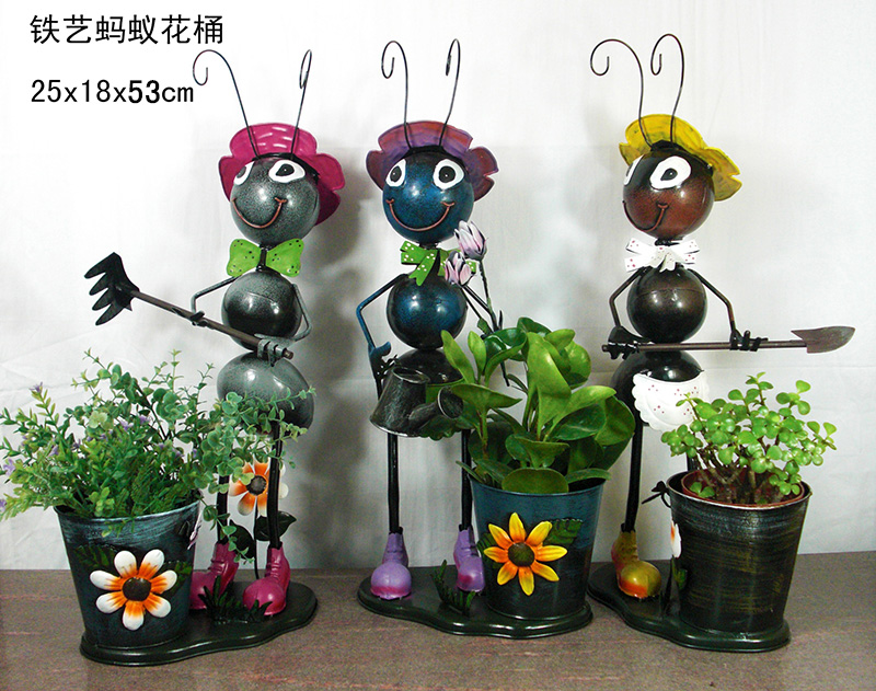 Wholesale metal ants flower pots iron craft ants garden for Decoration jardin metal