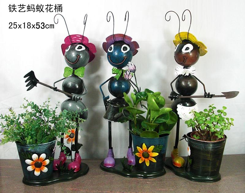Wholesale Metal Ants Flower Pots Iron Craft Ants Garden