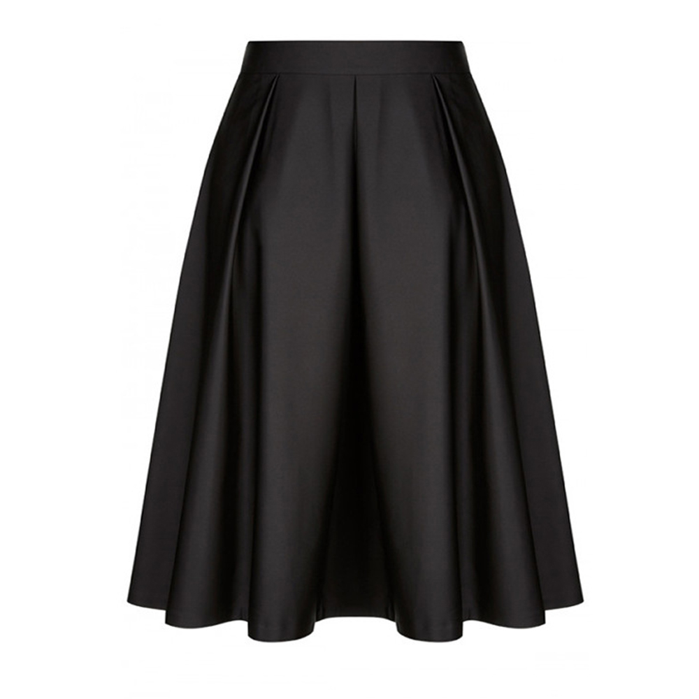 Woman Chic Satin Skirts Big Size Vintage Skirts Plus Size Elegant All-matched Clothing High Waist Retro Pleated Clothes Bottoms