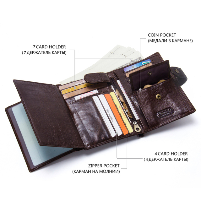 CONTACT'S Leather Wallet Luxury Male Genuine Leather Wallets Men Hasp Purse With Passcard Pocket and Card Holder High Quality 3