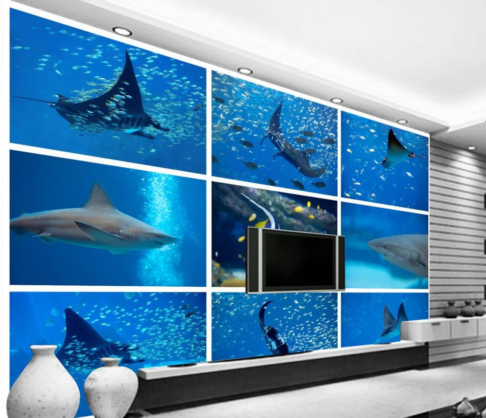 カスタム3d壁紙水中世界サメ熱帯魚の背景壁壁画3d壁紙 Aliexpress