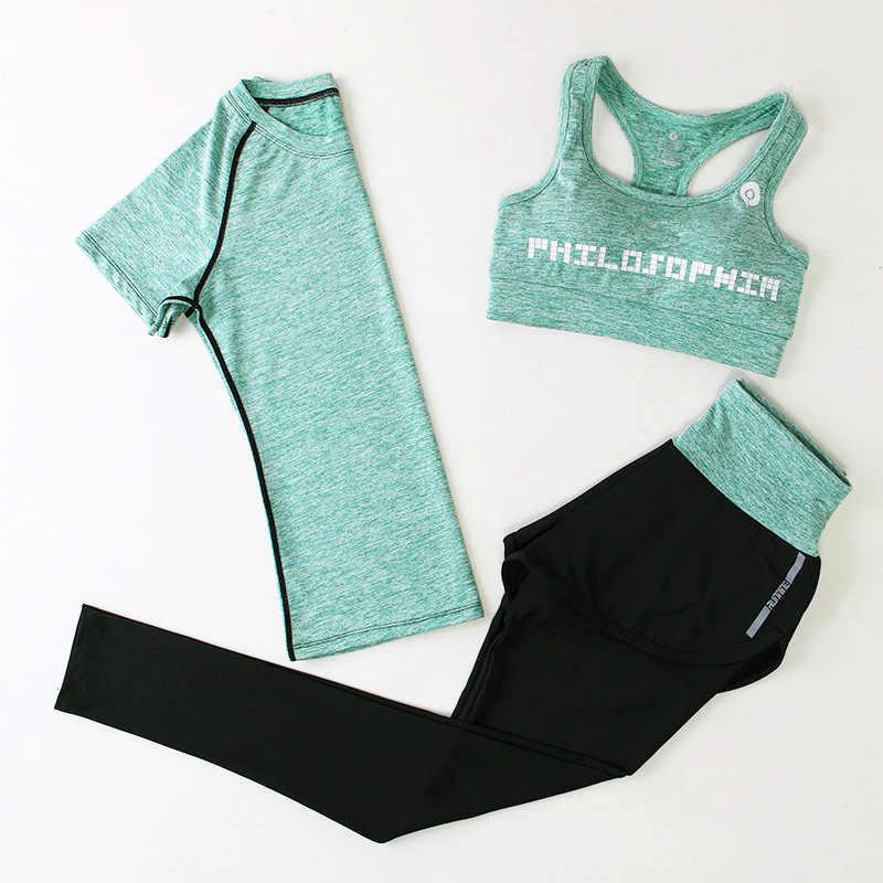 Conjunto de Yoga Fitness para mujer, conjunto de gimnasio 3 uds., ropa deportiva para mujer, ropa deportiva para correr, traje, chándal, camiseta, Top Leggings, ZF196