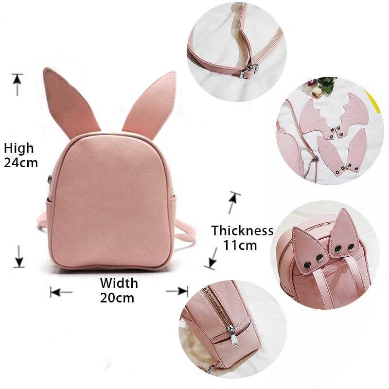 Backpack Women Replace Bat Wing Cat Ears Cute Backpack for Teenager Girl School Bags Leather Mini Backpacks Shoulder Bag Bagpack in Backpacks from Luggage Bags