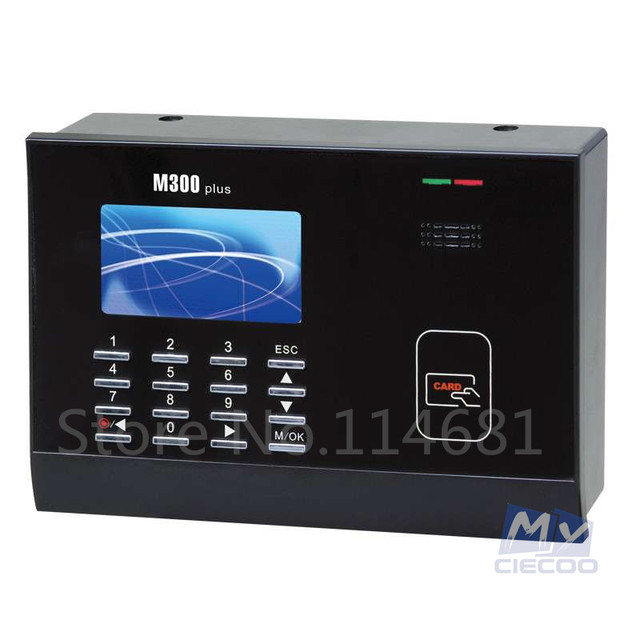 CIECOO  Free Shipping color screen TCP/IP M300 PLUS biometric Time Attendance Card Time clock With Free Software