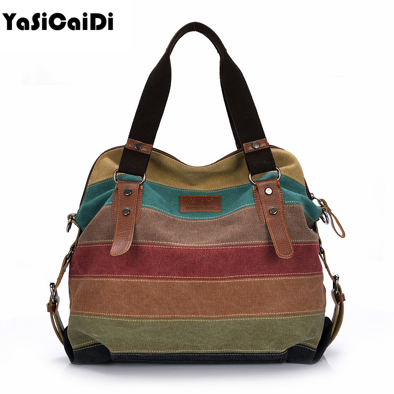 Fashion Women Canvas Shoulder Bag Famous Designer Messenger Bags Ladies Striped Women Bags Large Capacity Crossbody Bags Sac famous messenger bags for women fashion crossbody bags brand designer women shoulder bags bolosa