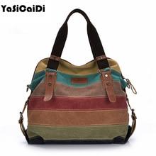 Luggage Bags - Handbags - Fashion Women Canvas Shoulder Bag Famous Designer Messenger Bags Ladies Striped Women Bags Large Capacity Crossbody Bags Sac