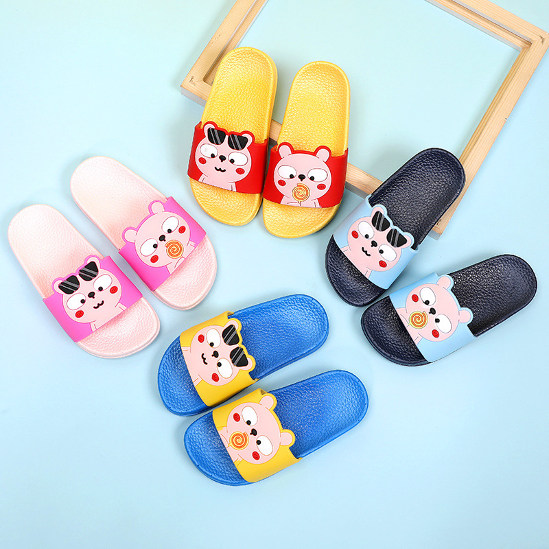 Girls Emoji Home Slippers Kids Summer Flip Flop Sandals Boys Non slip Bath Shoes Cute Animal Prints in Slippers from Mother Kids