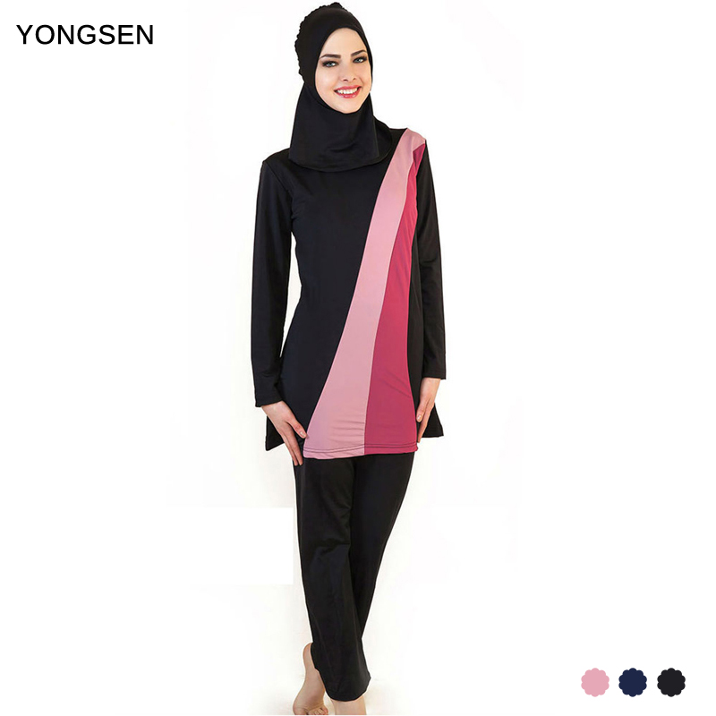 YONGSEN Muslim Women Spa Swimwear Islamic Swimsuit Full Face Hijab Swimming Beachwear Swimsuit Sport Clothing Burkinis