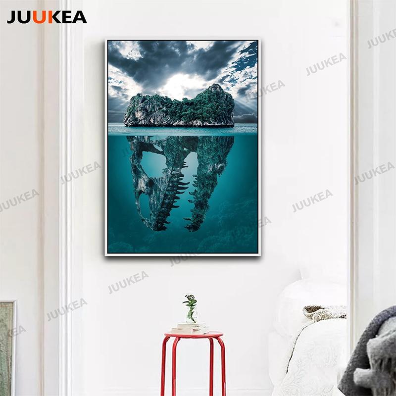 Impresión de la lona de Arte Dinosaurio Isla Mar Caribe HD ...
