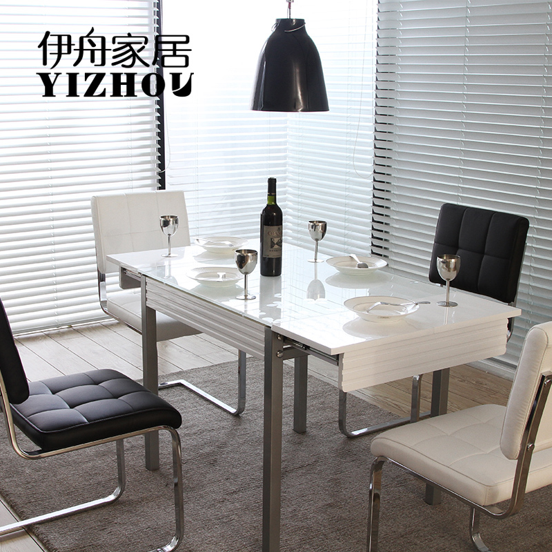 15 High End Contemporary Dining Room Designs: Iraqi Boat White Black Light Tempered Glass Table Stylish