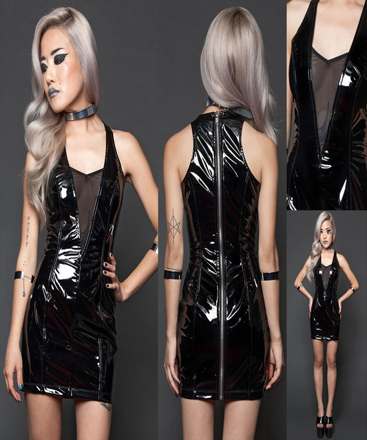 Hot Selling Plus Size S Xxl Sexy Pvc Leather Dress Women Mesh V Neck