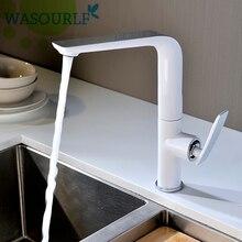 WASOURLF Küche Wasserhahn Wasserhahn Heißen und Kalten Einzigen Loch Griff Messing Weiß Chrom Wasser Saving Waschbecken Wasserhahn Wasserzeichen