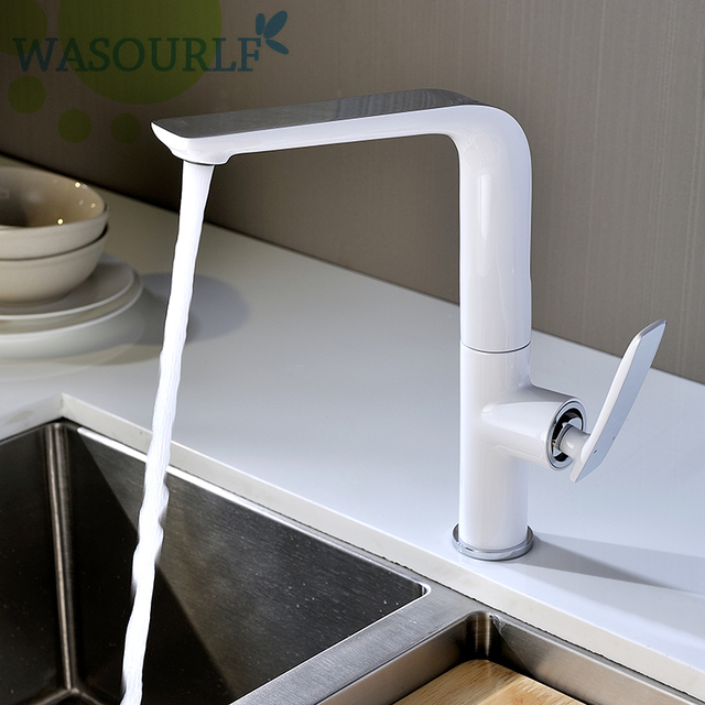 WASOURLF grifo de agua para cocina, con un solo orificio, frío y caliente, latón, blanco, cromo, para fregadero, ahorro de agua, marca de agua
