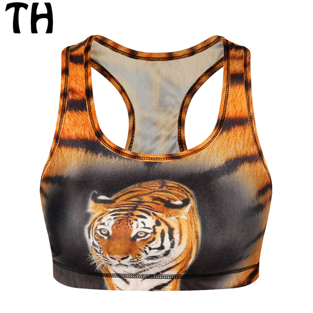 2016 Fitness Crop Top Women Tiger Cat Animal 3D Print Padded Quick Drying Shockproof Push Up Camis Cropped Feminino #160348